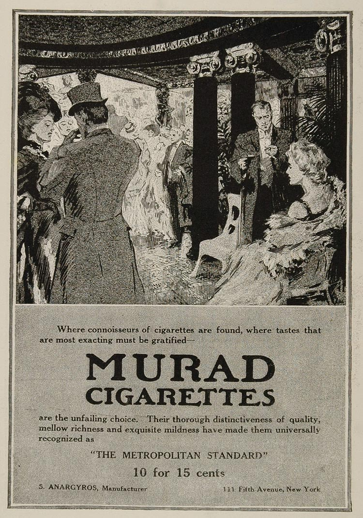 1908 Original Ad Murad Cigarettes S. Anargyros Party - ORIGINAL ADVERTISING OLD3