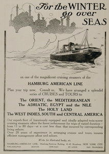 1908 Ad Hamburg American Cruise Line Steamship Travel - ORIGINAL OLD3
