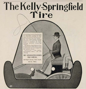 1904 Ad Kelly Springfield Carriage Rubber Tire Akron OH - ORIGINAL OLD3