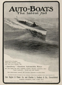 1904 Ad Auto Motorboat Gas Engine Charles L. Seabury - ORIGINAL ADVERTISING OLD3