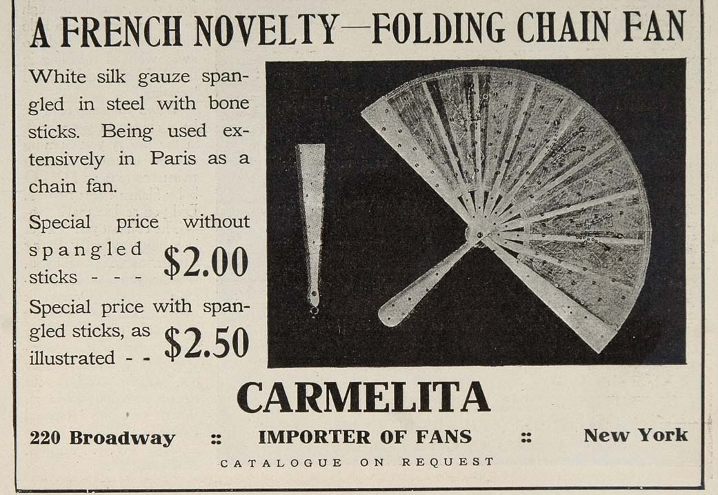 1906 Ad French Folding Chain Fan Carmelita Fashion Lady - ORIGINAL OLD3