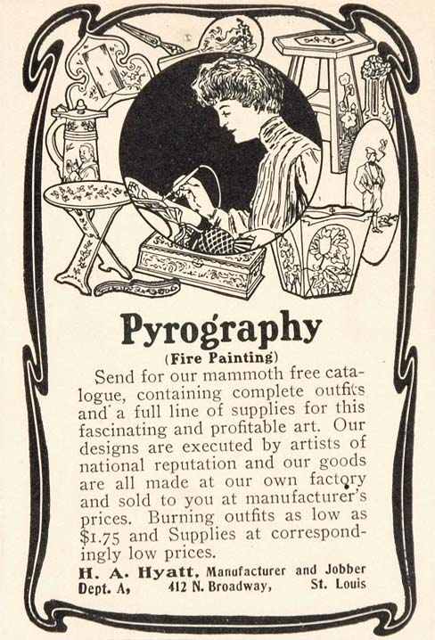 1904 Ad Pyrography Fire Painting Art Craft UNUSUAL