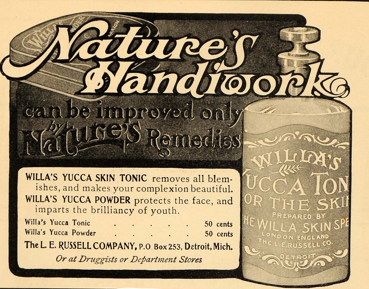 1904 Vintage Ad Willa's Yucca Skin Tonic Powder Beauty - ORIGINAL OLD4A