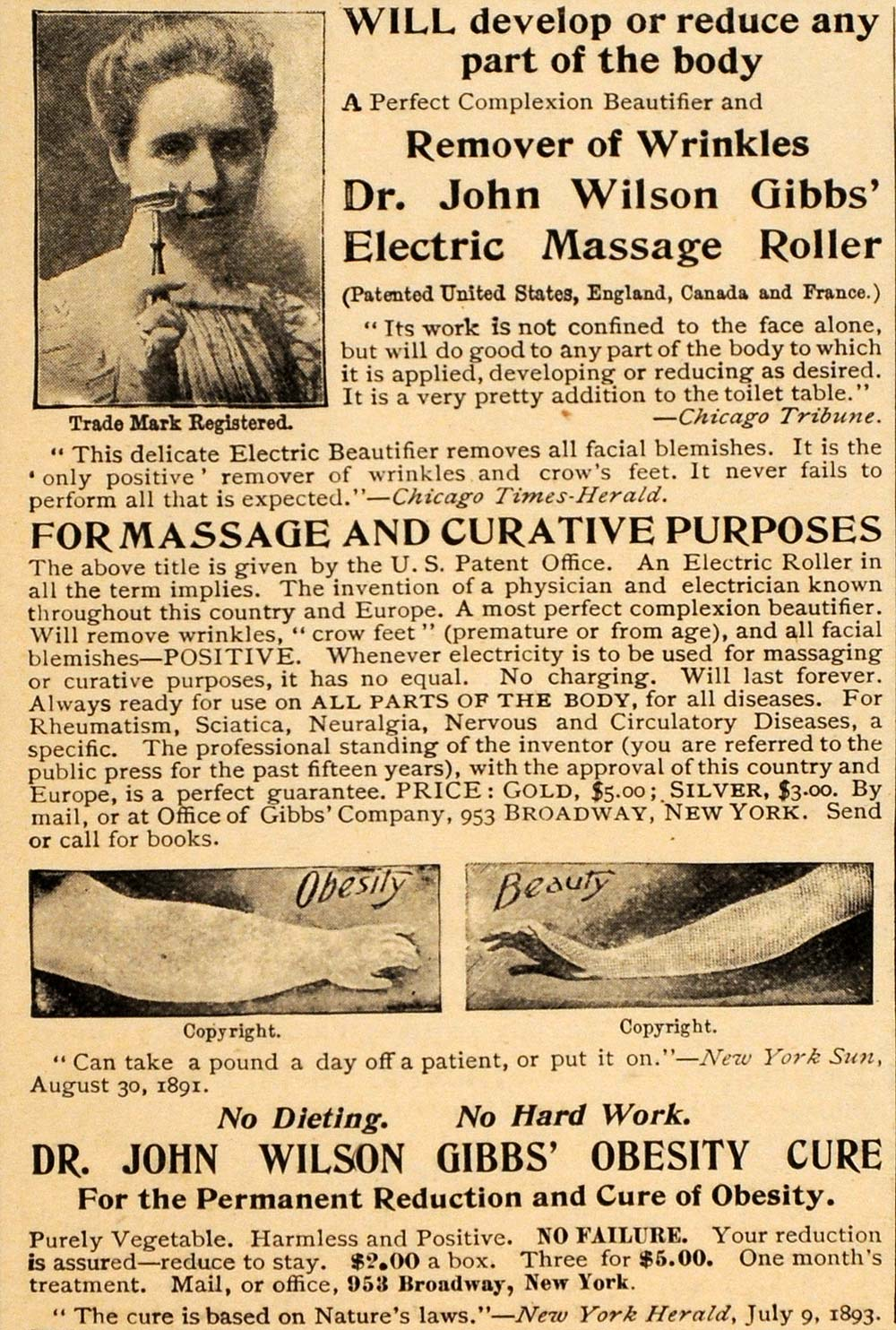 1898 Vintage Ad Massage Roller Obesity Cure Quackery - ORIGINAL OLD4A
