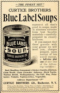 1898 Vintage Ad Curtice Brothers Blue Label Soups Can - ORIGINAL OLD4A