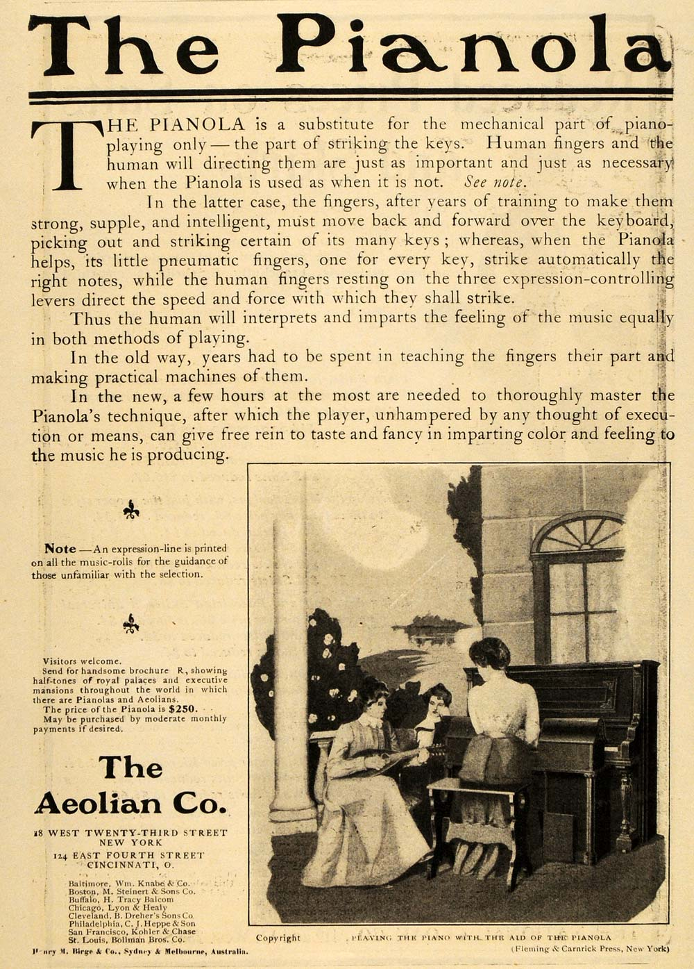 1902 Ad Aeolian Pianola Player Piano Woman Pianist - ORIGINAL ADVERTISING OLD4A