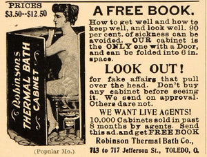 1898 Vintage Ad Robinson Thermal Steam Bath Cabinet - ORIGINAL ADVERTISING OLD4A