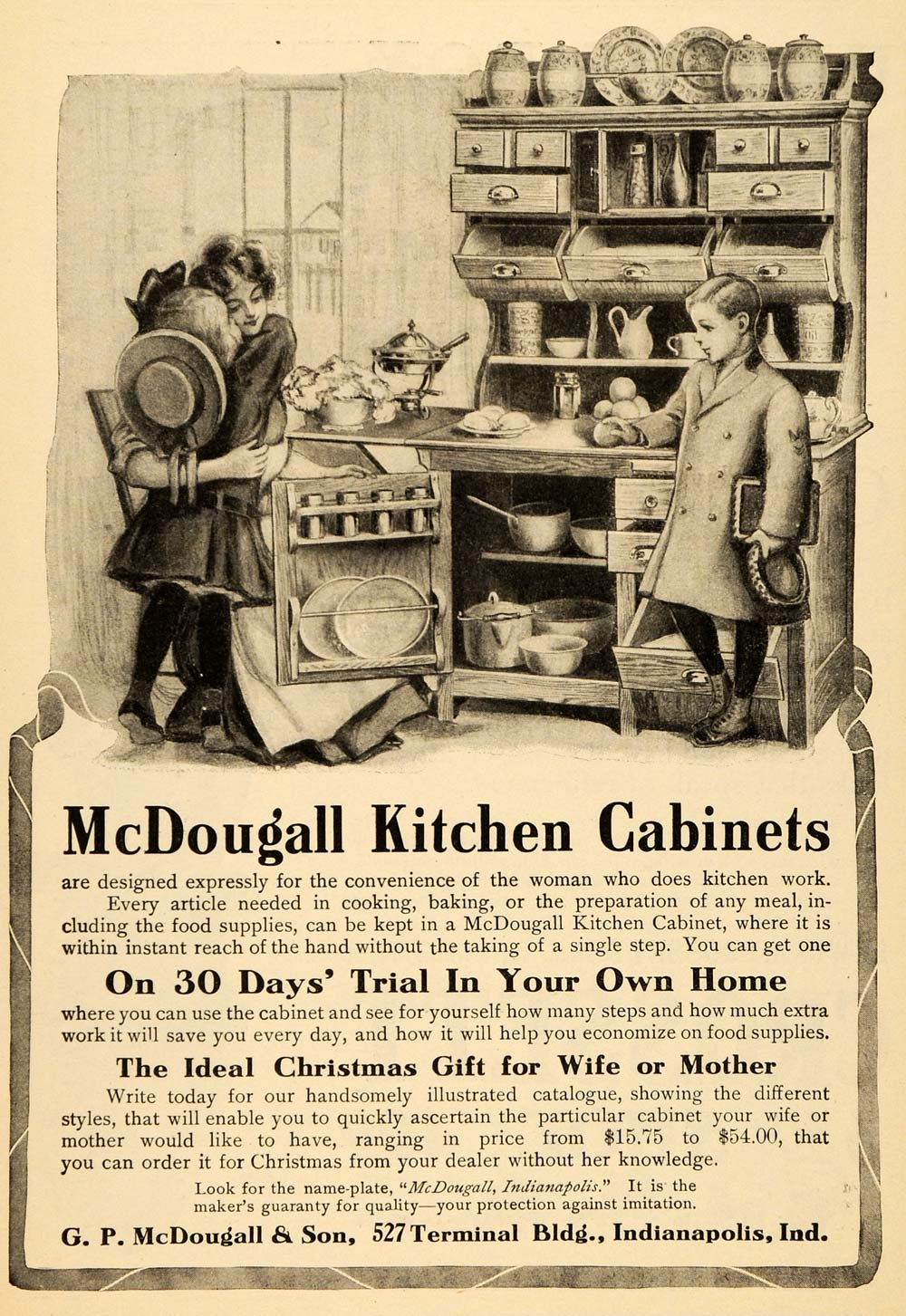 1905 Vintage Ad Mcdougall Kitchen Cabinets Antique Nice Original Old4a