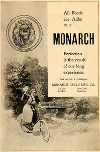 1898 Vintage Ad Monarch Bicycle Cycle Bike Woman Lion - ORIGINAL OLD5