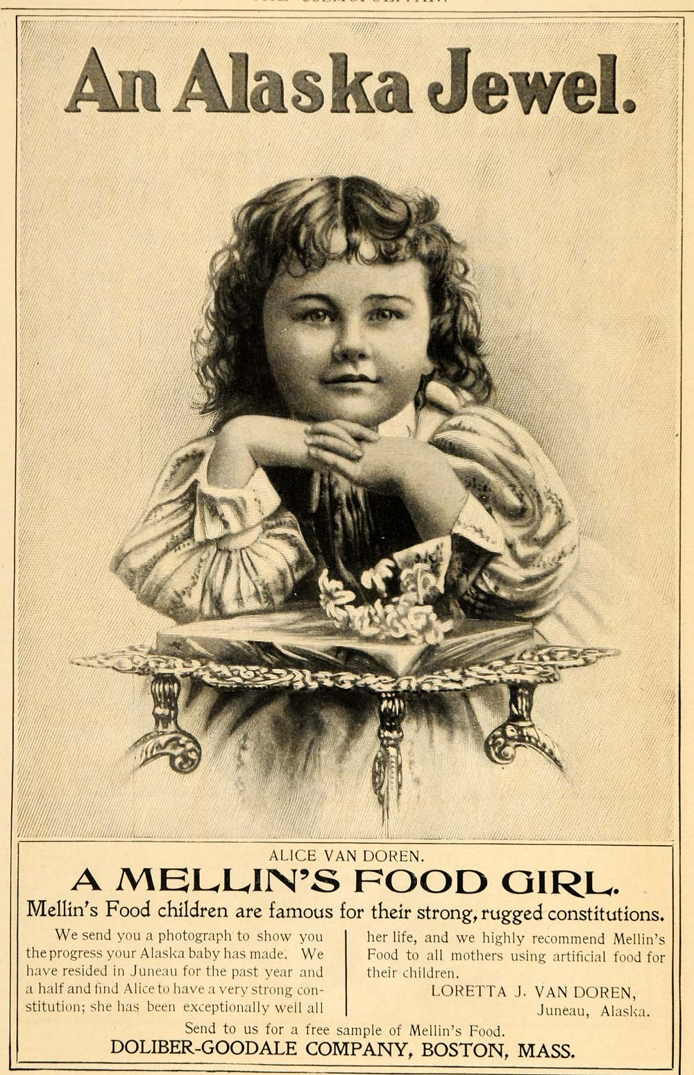 1898 Ad Mellins Food Girl Alice Van Doren Juneau Alaska - ORIGINAL OLD5