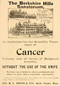1898 Ad Berkshire Hills Cancer Sanitarium North Adams - ORIGINAL OLD5