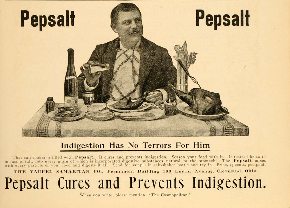 1898 Vintage Ad Pepsalt Indigestion Cure Gourmand Food - ORIGINAL OLD5