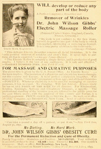 1898 Quackery Ad Gibbs Massage Roller Obesity Fat Cure - ORIGINAL OLD5