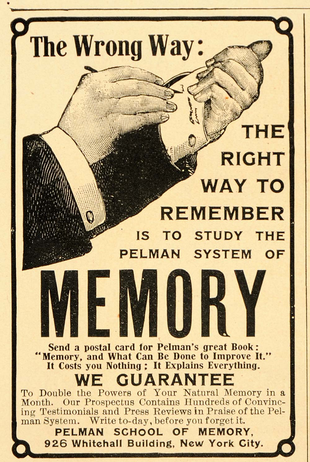1905 Vintage Ad Pelman School of Memory Improvement - ORIGINAL ADVERTISING OLD5