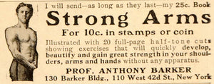 1910 Ad Fitness Quackery Anthony Barker Muscleman Arms - ORIGINAL OLD5