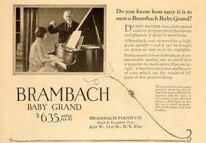 1925 Vintage Ad Brambach Baby Grand Piano Teacher - ORIGINAL ADVERTISING OLD6