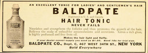 1916 Vintage Ad Baldpate Baldness Treatment Cure Tonic - ORIGINAL OLD6