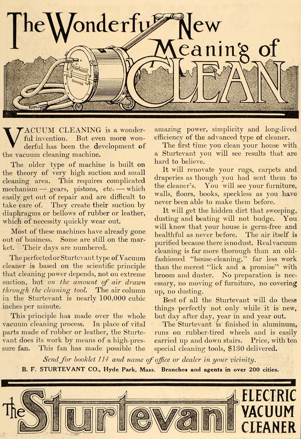1911 Vintage Ad B.F. Sturtevant Electric Vacuum Cleaner - ORIGINAL OLD6