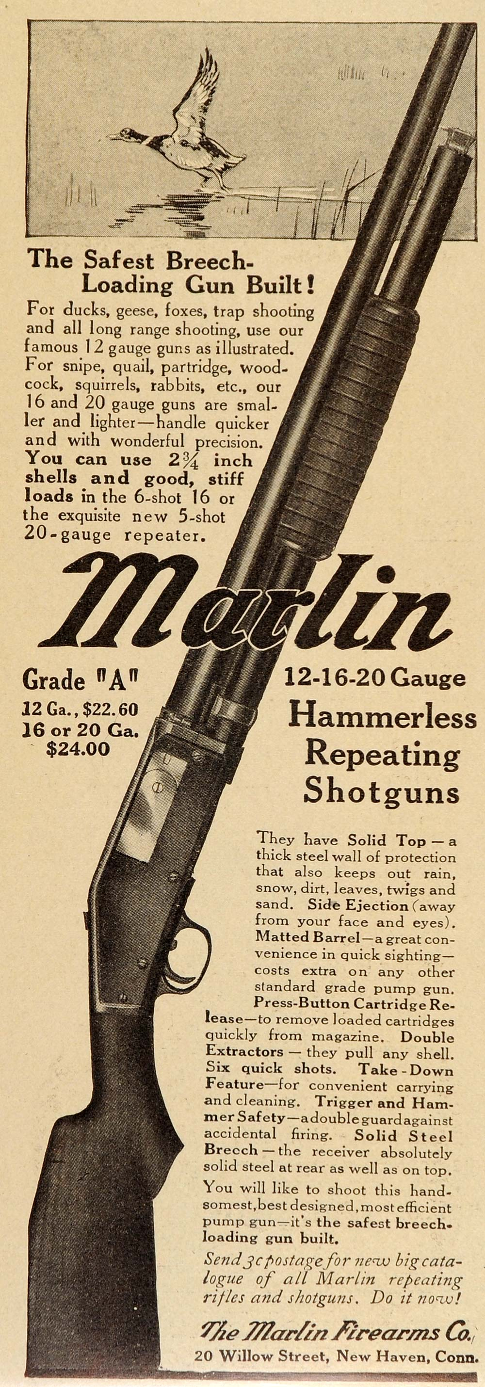 1914 Vintage Ad Marlin 12-16-20 Gauge Repeating Shotgun - ORIGINAL OLD7