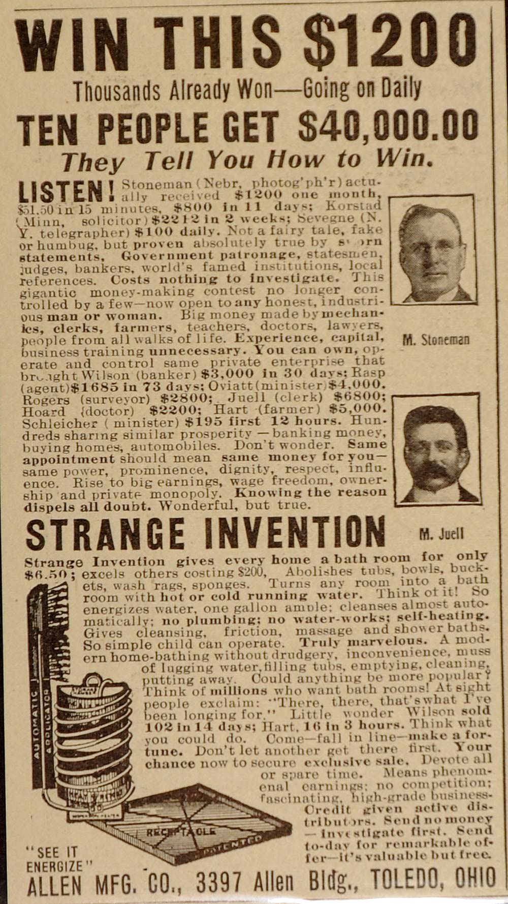 1911 Ad Money Making Scheme Bathroom Invention UNUSUAL - ORIGINAL OLD8
