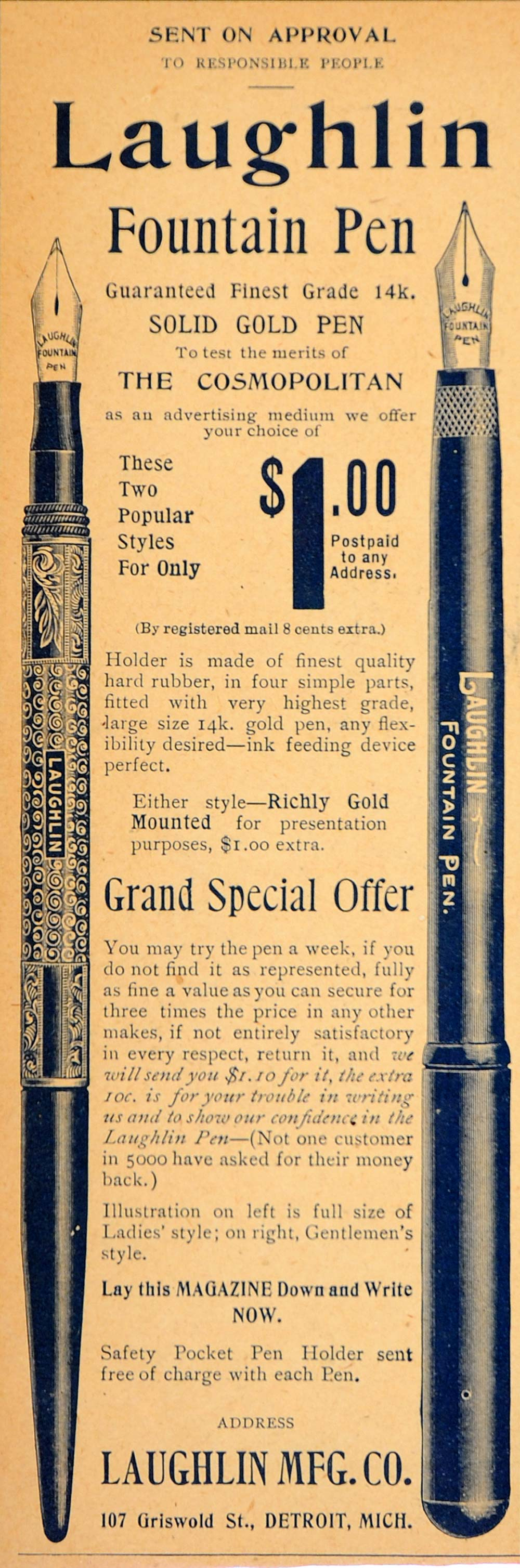 1904 Vintage Ad Laughlin Fountain Pen 14K Gold Ladies - ORIGINAL OLD9