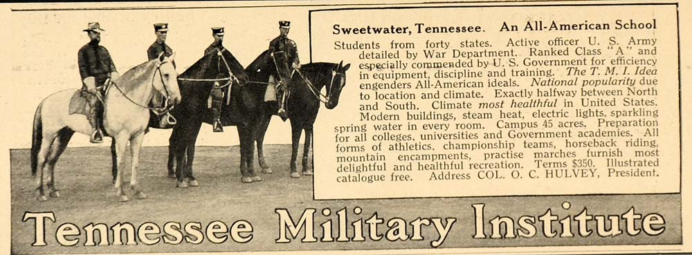 1914 Ad Tennessee Military Institute TMI Sweetwater American Training OLD9