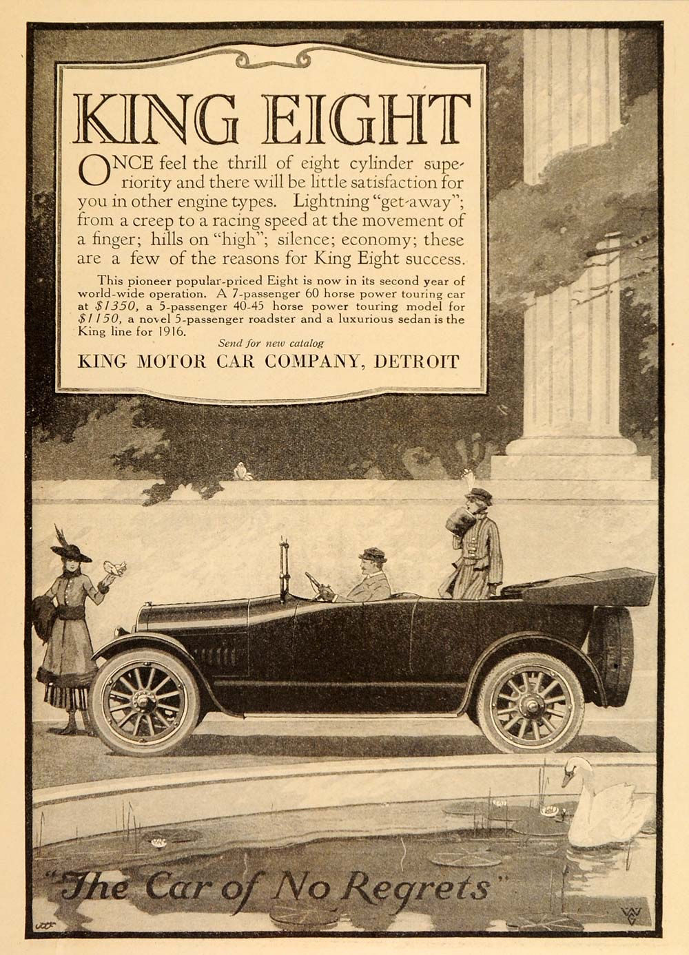 1916 Vintage Ad King Eight Antique Automobile Touring - ORIGINAL OLD9