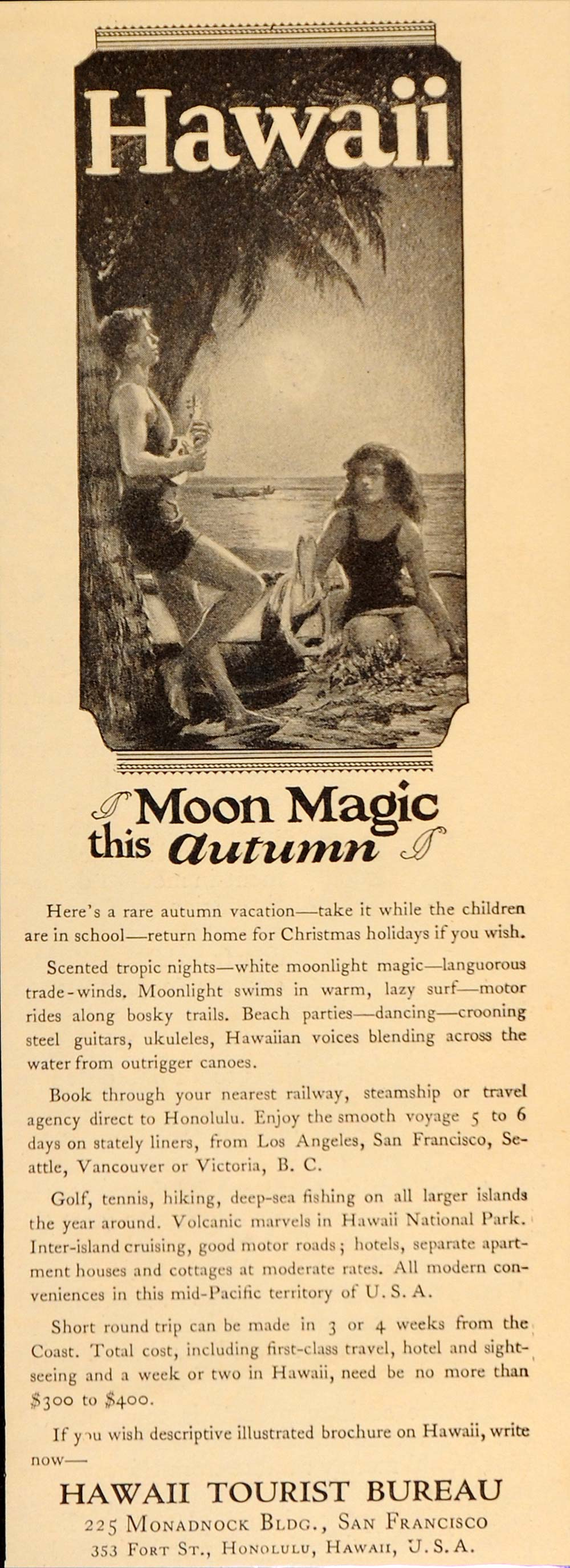 1925 Vintage Ad Hawaii Beach Moonlight Tourist Bureau - ORIGINAL OLD9