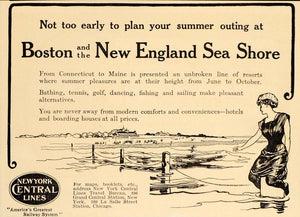 1909 Ad New York Central R.R. Line New England Seashore - ORIGINAL OLD9