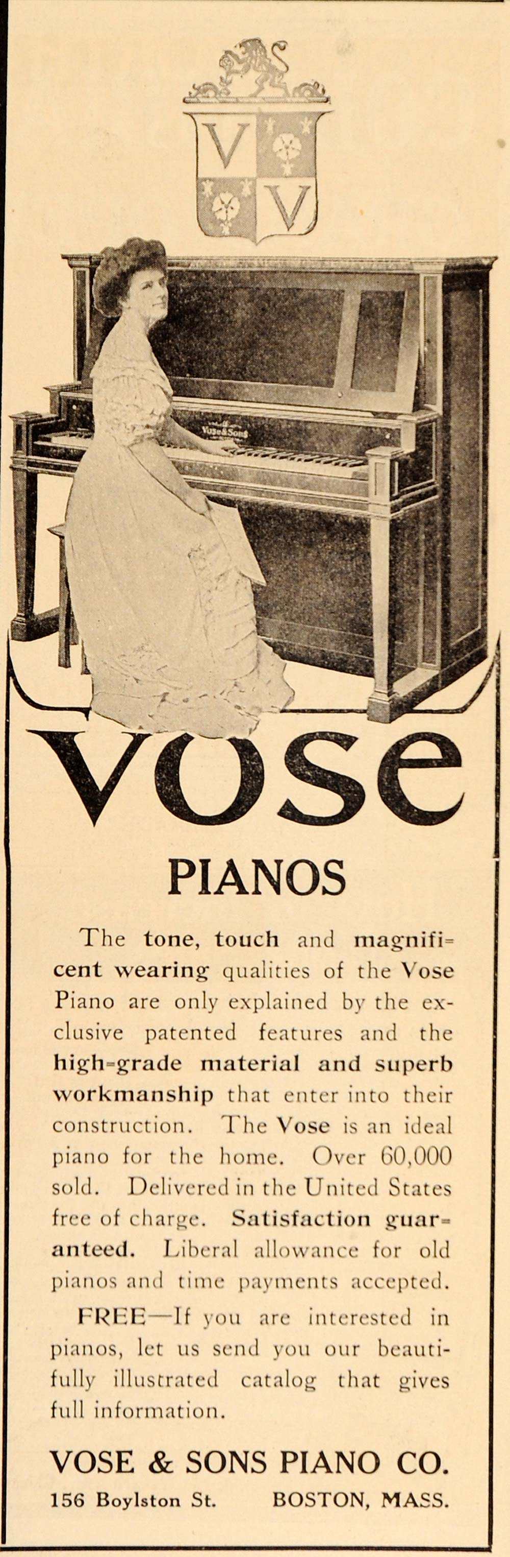 1909 Vintage Ad Vose Upright Piano Woman Pianist Boston - ORIGINAL OLD9
