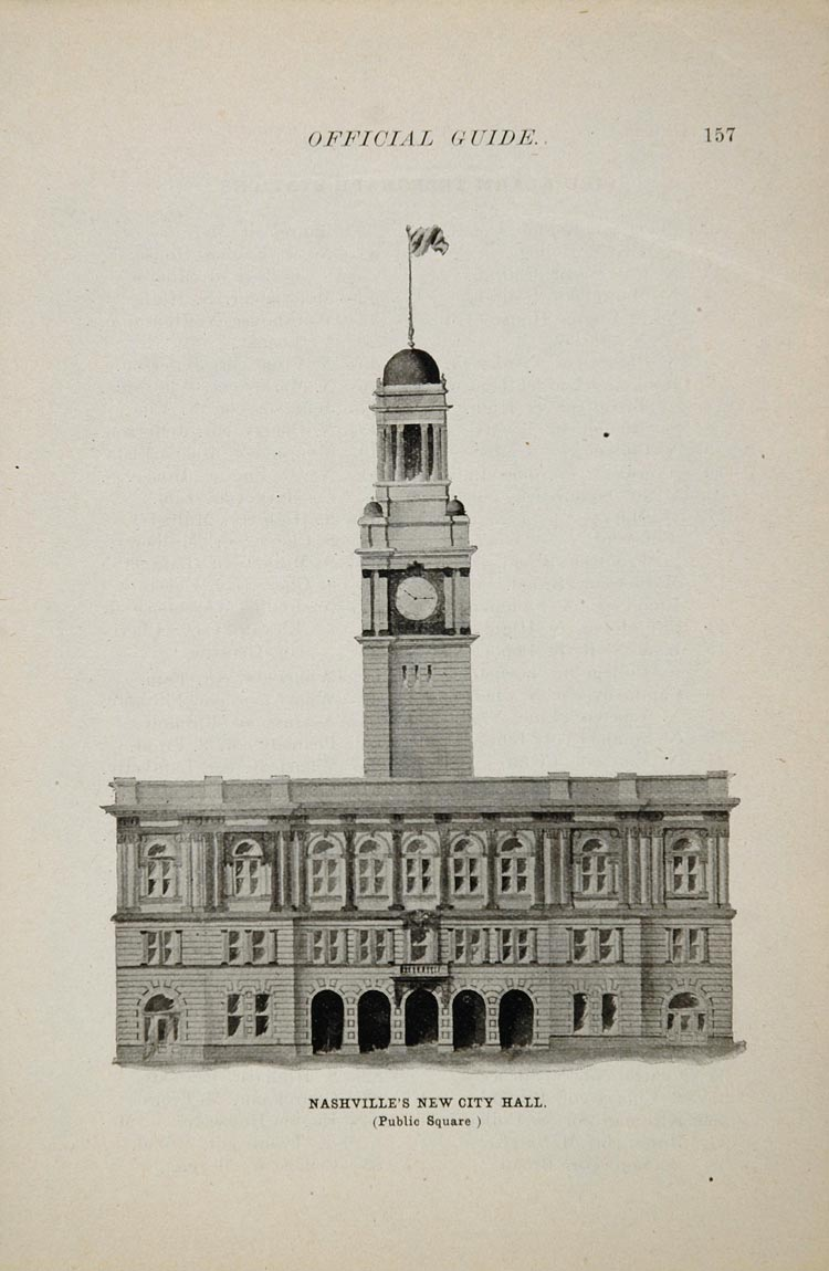 1897 Print City Hall Nashville Tennessee Clock Tower - ORIGINAL HISTORIC IMAGE