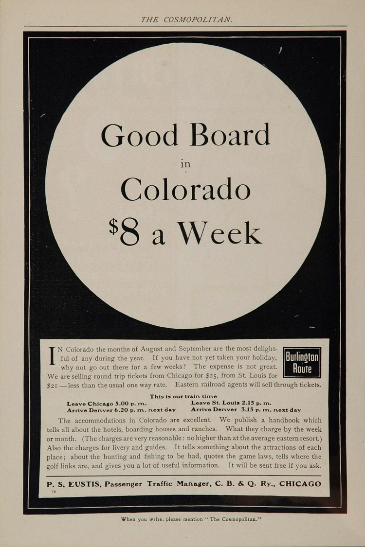 1902 Ad Burlington Route Railway Railroad Colorado RR - ORIGINAL ADVERTISING OLD