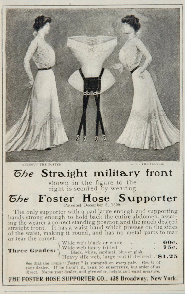 1901 Ad Foster Hose Supporter Women Garter Belt UNUSUAL - ORIGINAL OLD