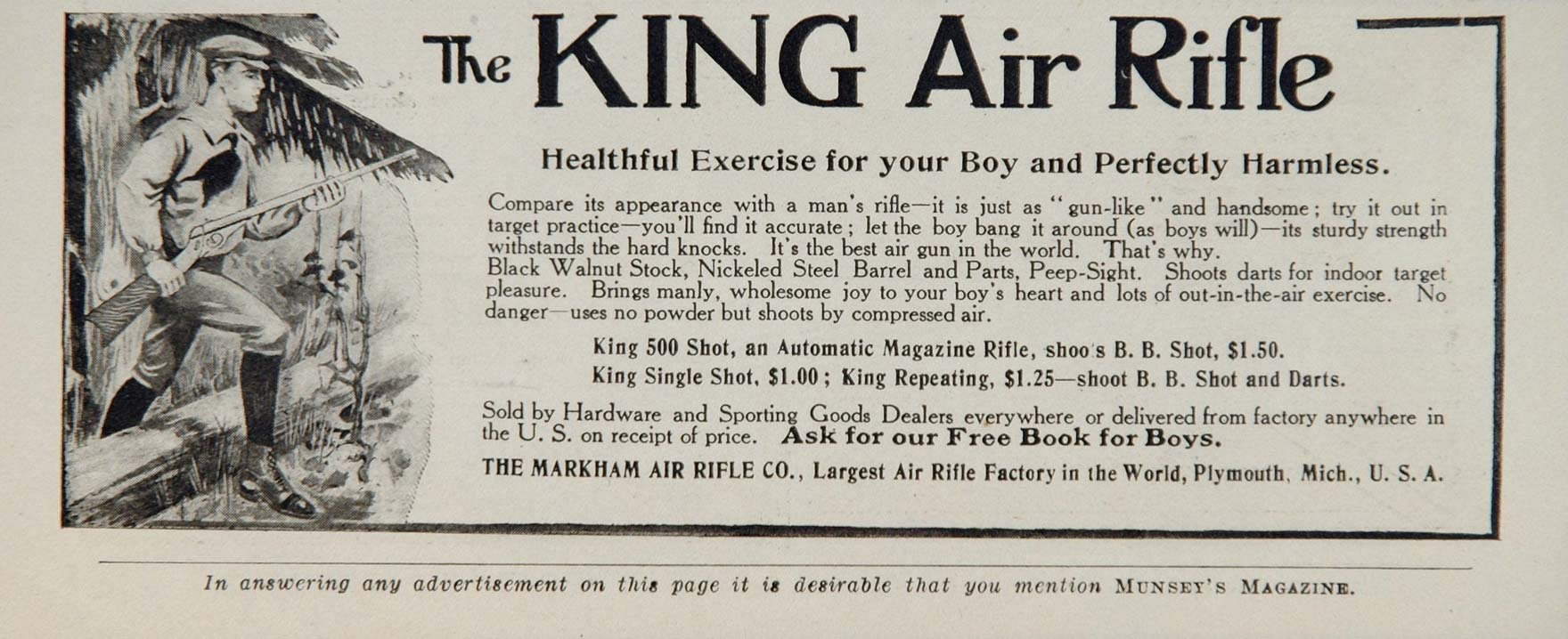 1907 Ad Vintage King Air Rifle Gun Markham Boy BB Shot - ORIGINAL OLD