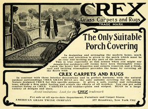 1908 Ad Crex Grass Rugs Carpets American Grass Twine - ORIGINAL ADVERTISING OWE1