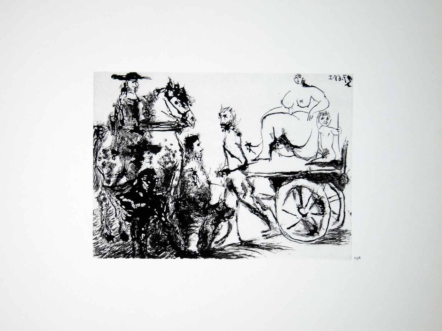 1970 Heliogravure Pablo Picasso Nude Woman Cart Caballero Horse Aquatint P347B