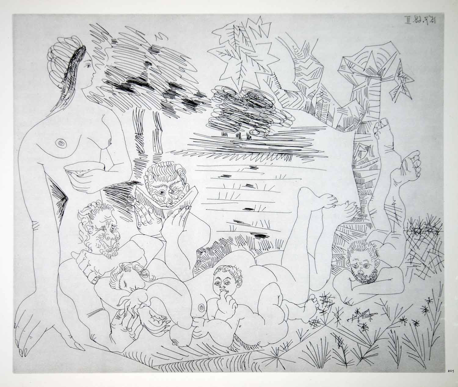 1970 Heliogravure Pablo Picasso Nude Figures Male Female Abstract Art P347B