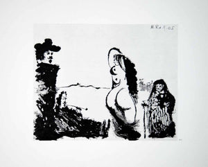 1970 Heliogravure Picasso Abstract Female Nude Body Figures Aquatint Art P347B