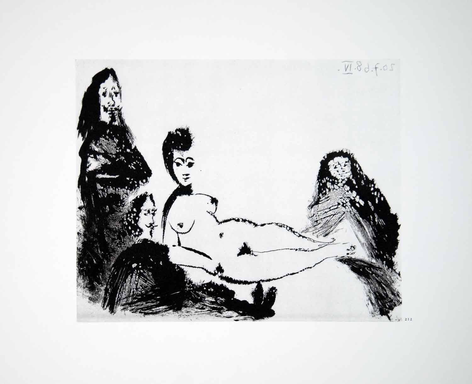 1970 Heliogravure Picasso Reclining Nude Female Figure Body Aquatint Art P347B