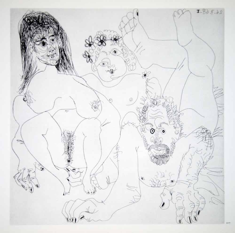 1970 Heliogravure Pablo Picasso Art Abstract Nudes Male Female Hands Feet P347B