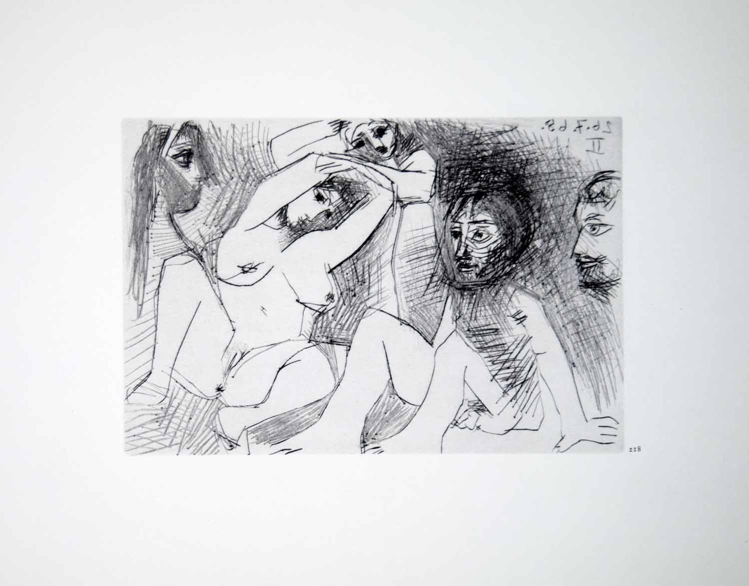 1970 Heliogravure Picasso Nudes Abstract Art Female Male Figure Dry Point P347B