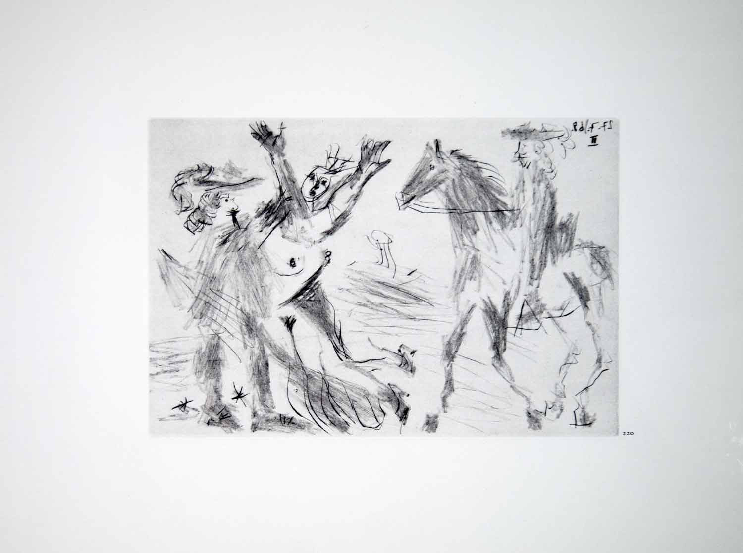 1970 Heliogravure Picasso Art Nude Female Figure Musketeer Horse Dry Point P347B - Period Paper