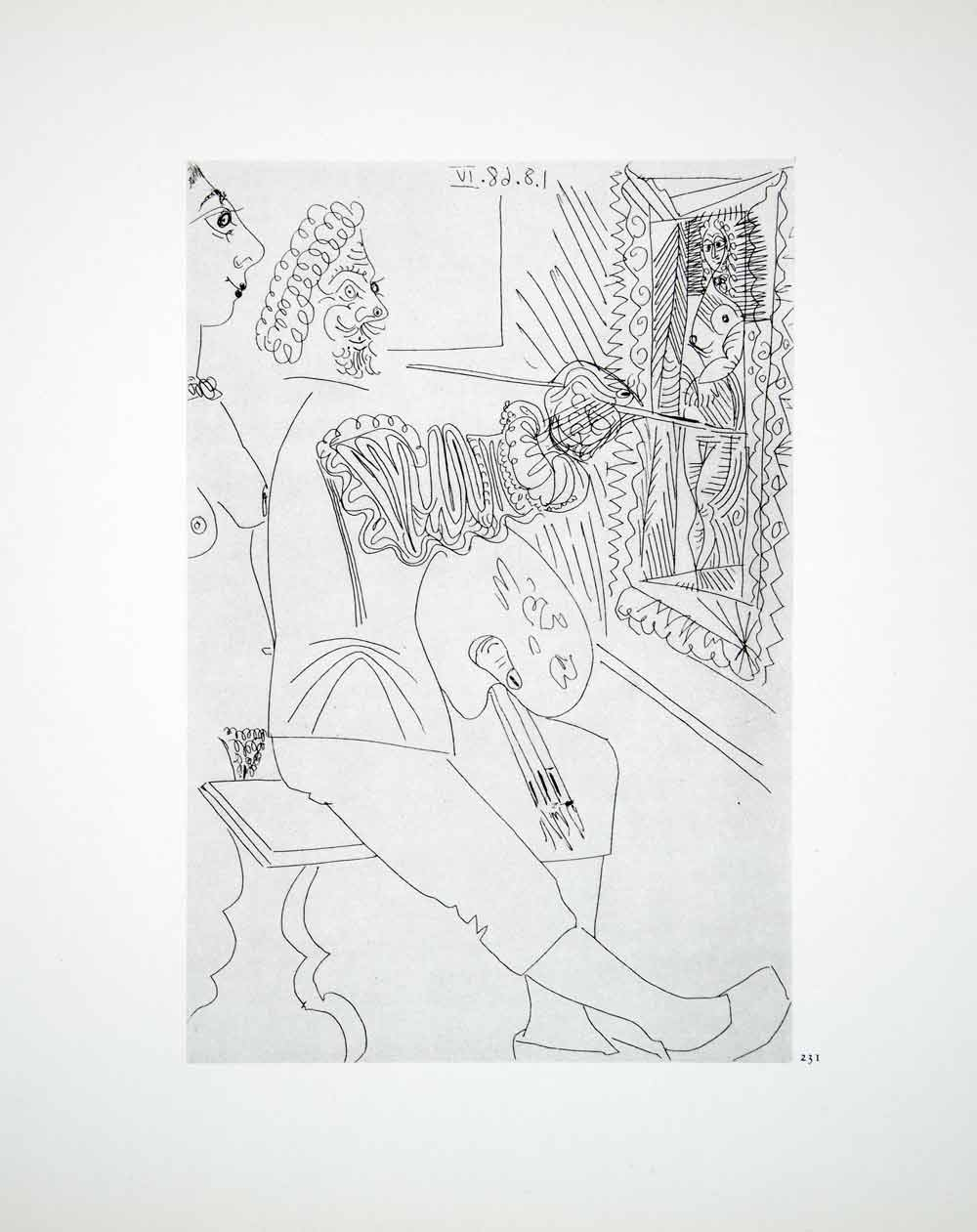 1970 Heliogravure Picasso Artist Painting Nude Female Figure Abstract Art P347B