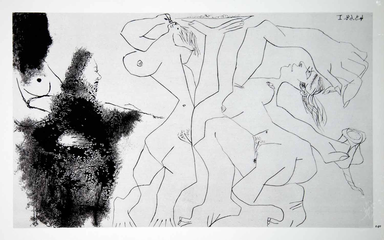 1970 Heliogravure Picasso Art Artist Painting Models Female Nudes Aquatint P347B - Period Paper