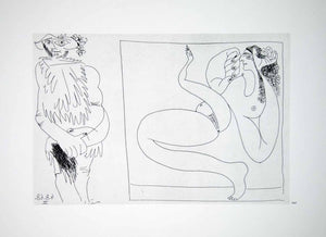 1970 Heliogravure Picasso Abstract Erotic Art Nudes Male Female Figures P347B