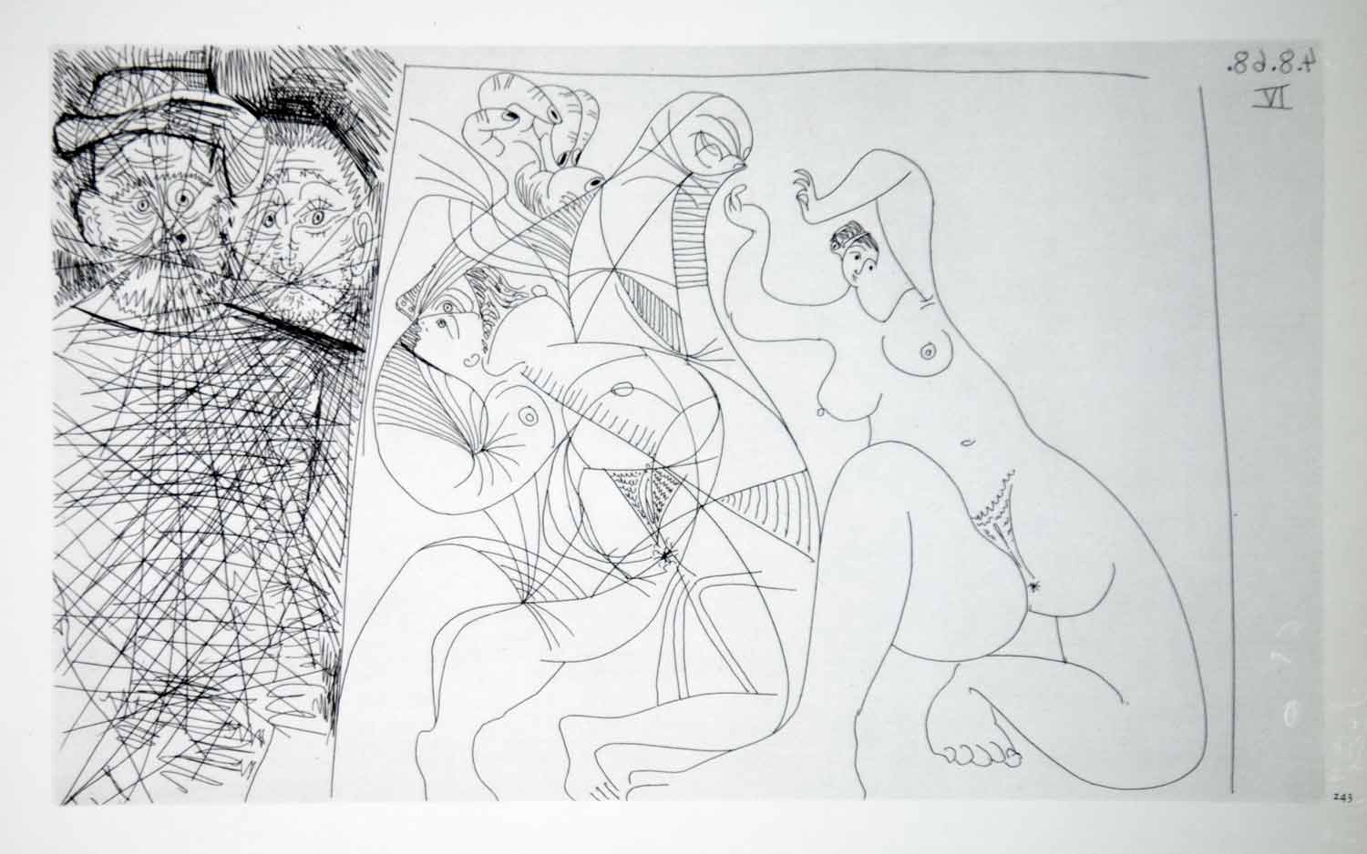 1970 Heliogravure Picasso Nudes Female Body Abstract Art Men Faces Etching P347B