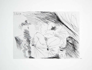 1970 Heliogravure Pablo Picasso Reclining Nude Female Erotic Art Abstract P347B