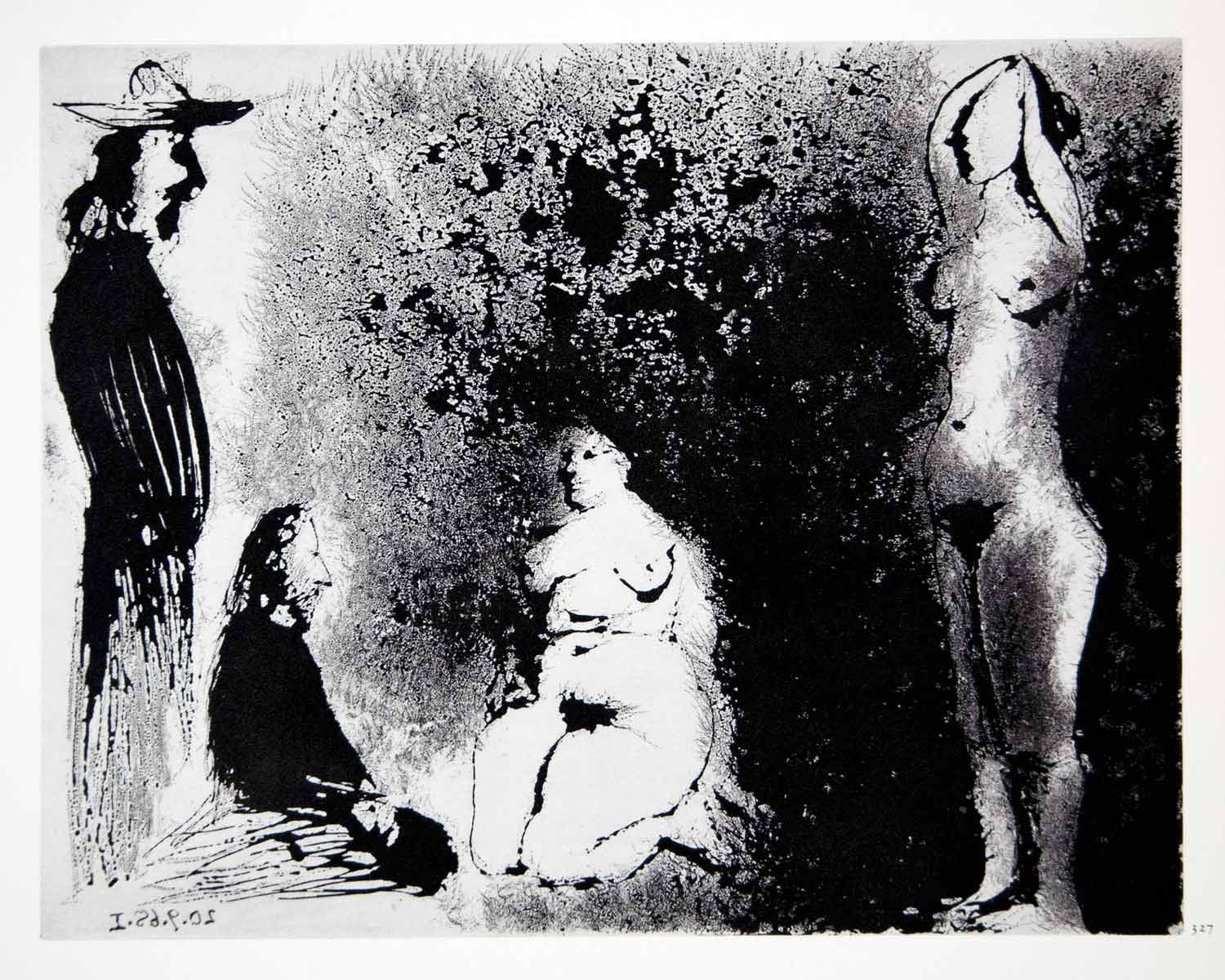 1970 Heliogravure Picasso Nudes Standing Kneeling Aquatint Abstract Art P347B