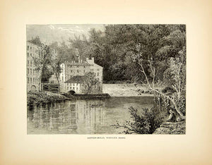 1872 Wood Engraving Granville Perkins Cotton Mill Ridele's Bank Brandywine PA2