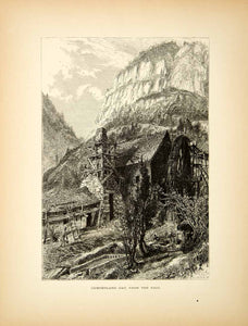 1872 Wood Engraving Cumberland Gap Old Mill Appalachian Mountains Harry Fenn PA2